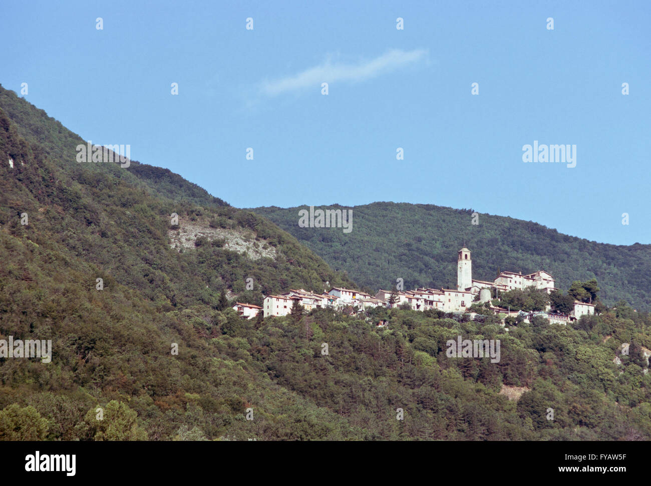 Panorama with Greccio, Italian medieval hill town - Stock Image