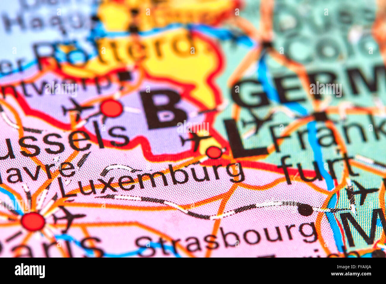 Luxemburg, Country and City in Europe on the World Map - Stock Image