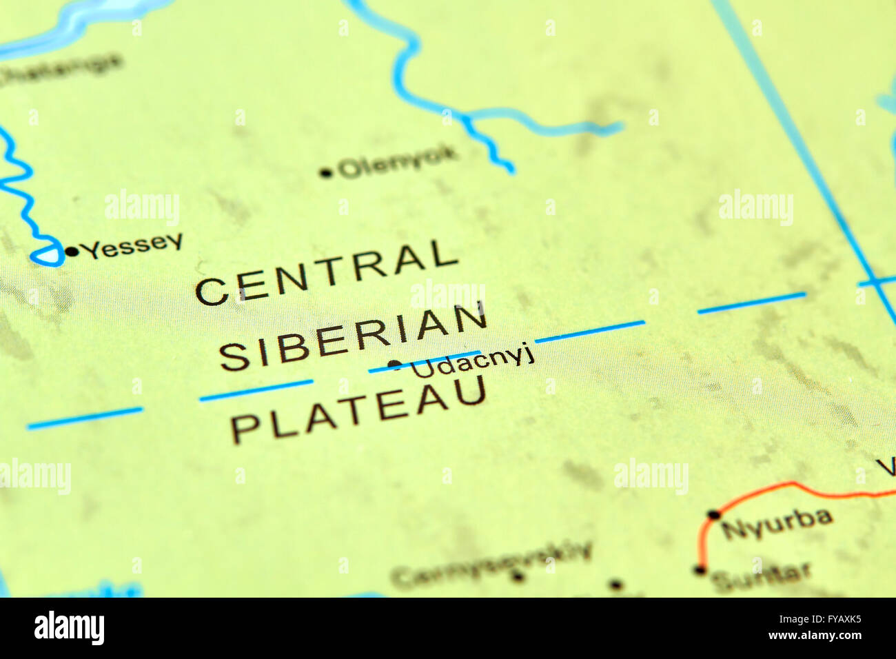 Central Siberian Plateau In Russia On The World Map Stock Photo
