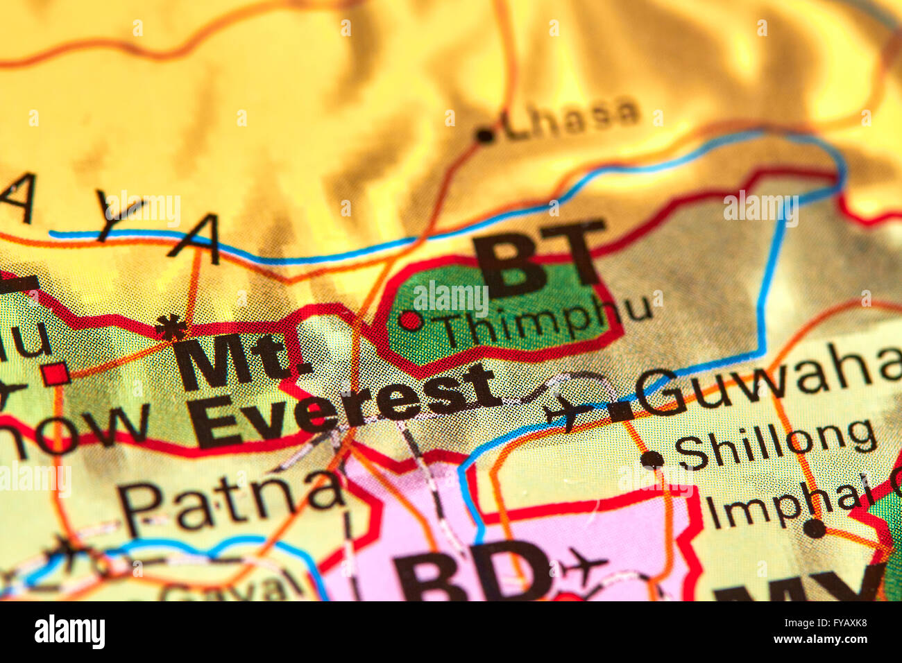 Picture of: Mount Everest On The World Map Stock Photo Alamy