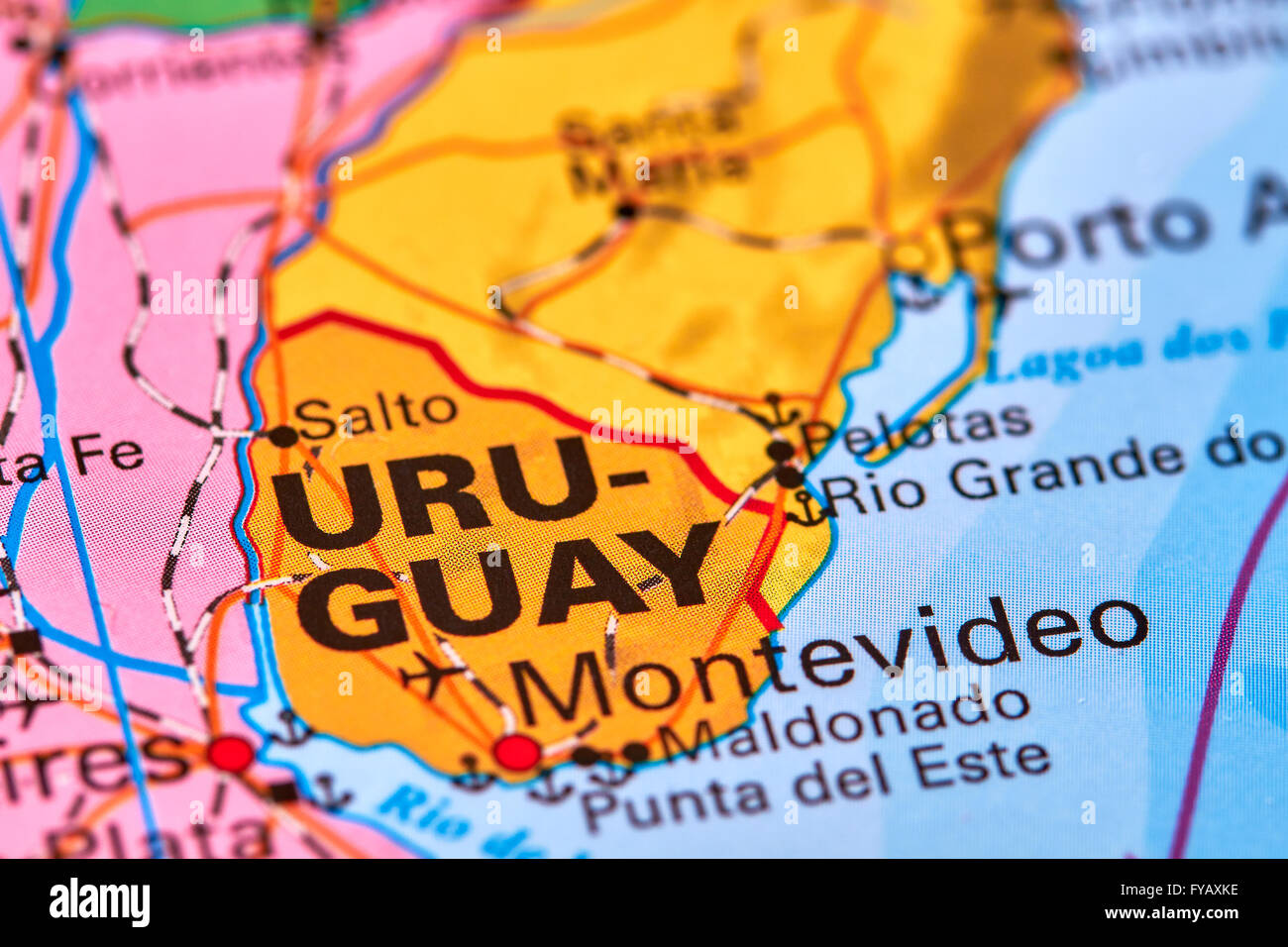 Uruguay, Country in South America on the World Map - Stock Image