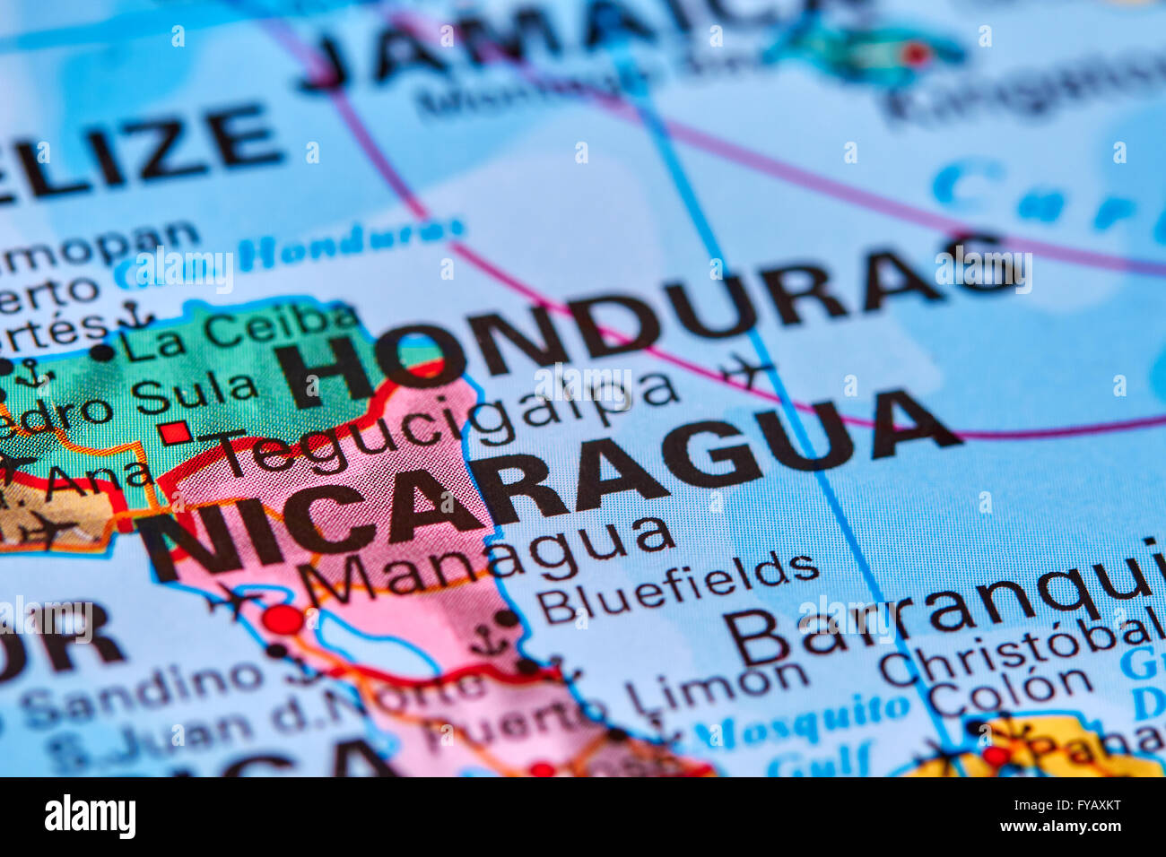 Nicaragua Country In Central America On The World Map Stock Photo