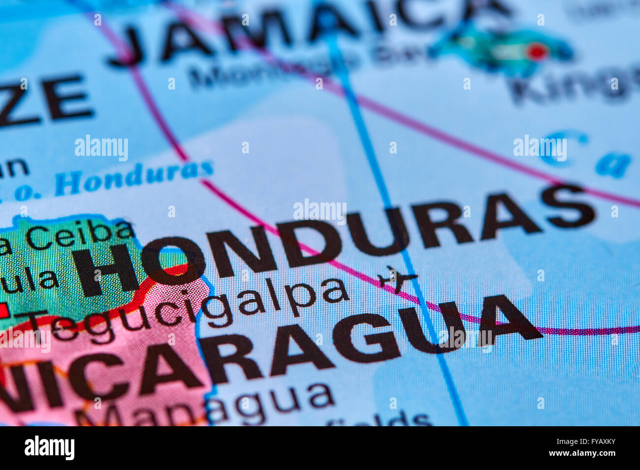 Honduras, Country in Central America on the World Map - Stock Image