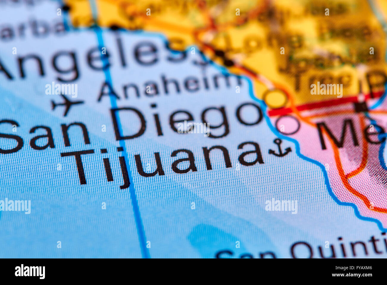 Usa Border Map Mexico Stock Photos & Usa Border Map Mexico Stock ...