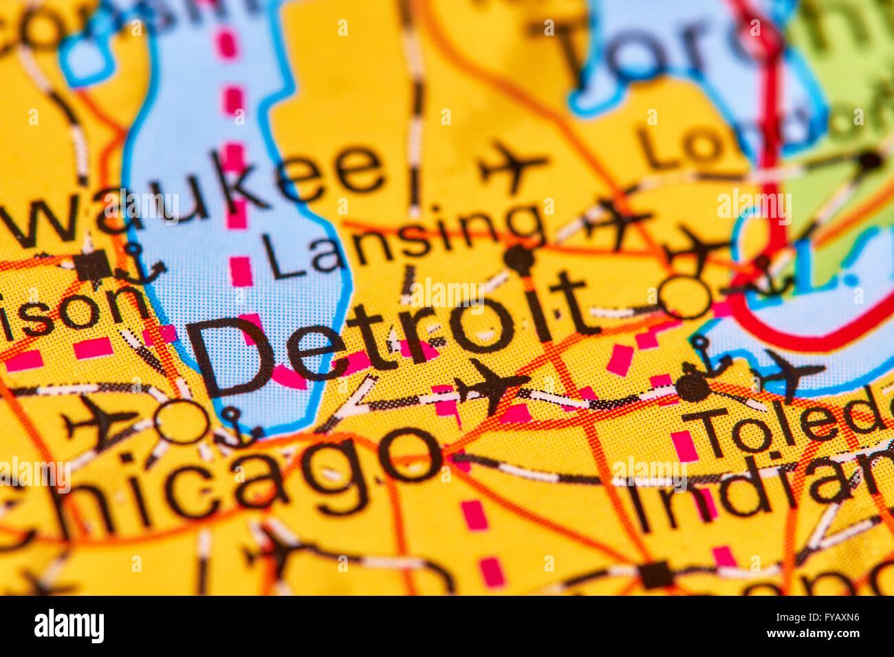 Detroit, City in USA on the World Map Stock Photo: 102888050 ... on map usa dallas, map usa indianapolis, map usa new orleans, map usa san francisco, map usa boston, map usa chicago, map usa san antonio, map usa cleveland, map usa san diego, map usa new york, map usa baltimore, map usa philadelphia, map usa michigan, map usa atlanta,