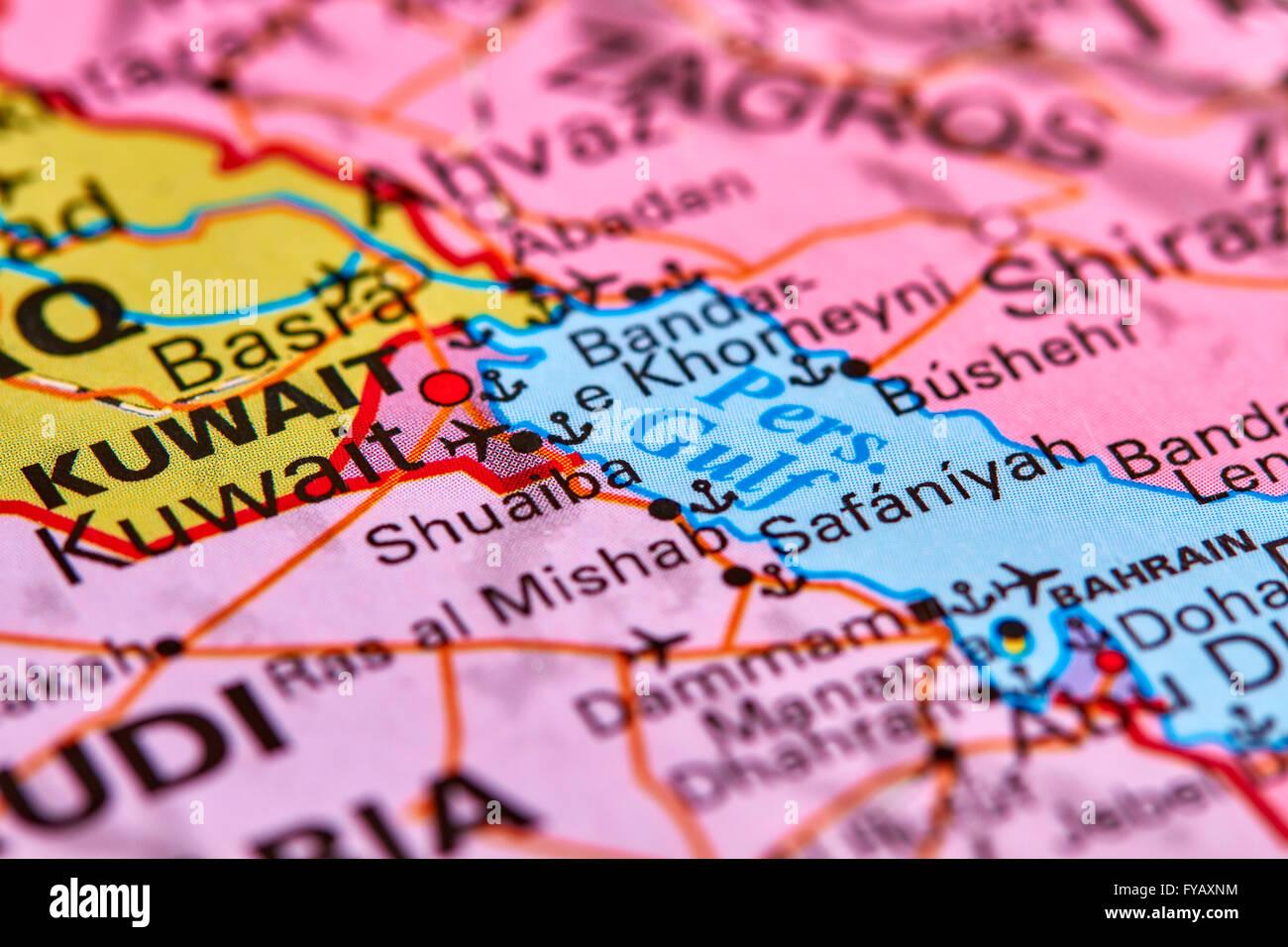 Persian Gulf on the World Map - Stock Image
