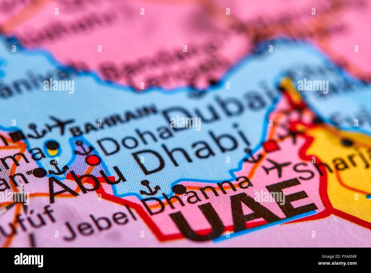 Abu Dhabi, Capital City of United Arab Emirates on the World Map - Stock Image