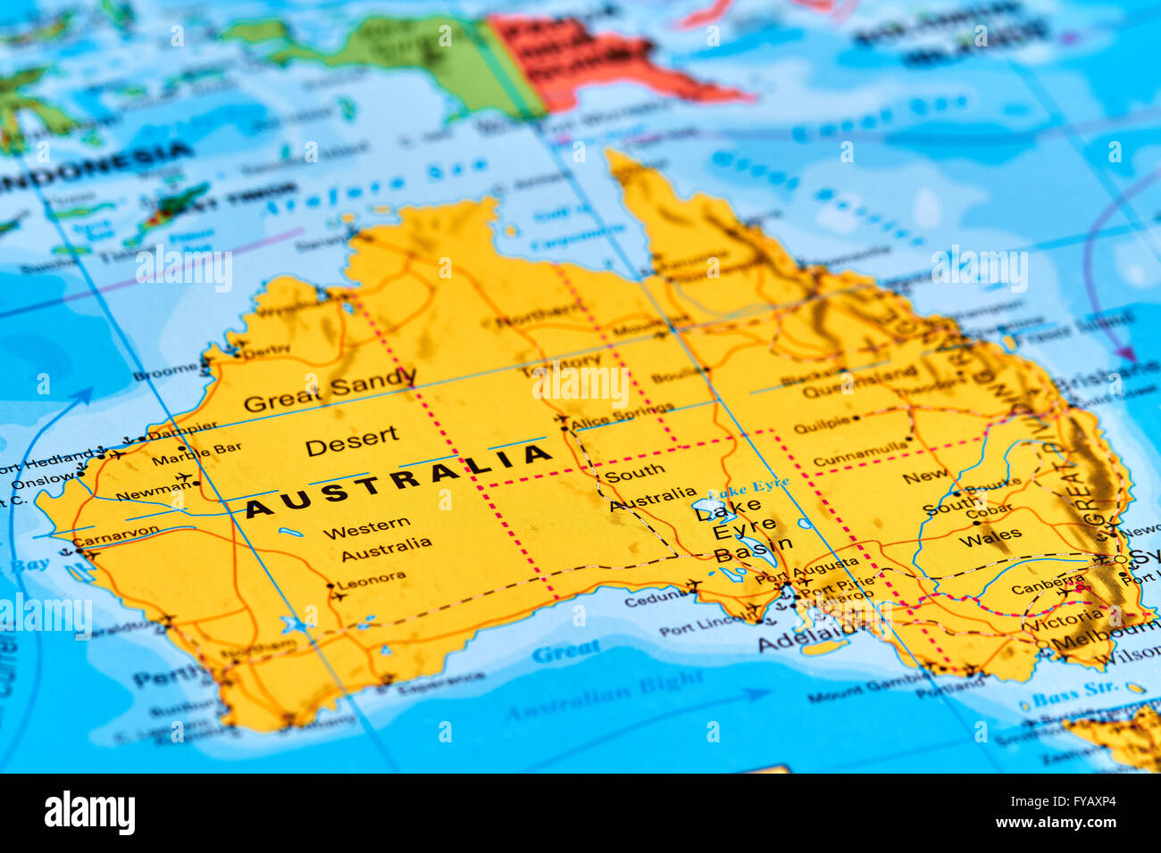 Australia Continent and Country on the World Map Stock Photo ...