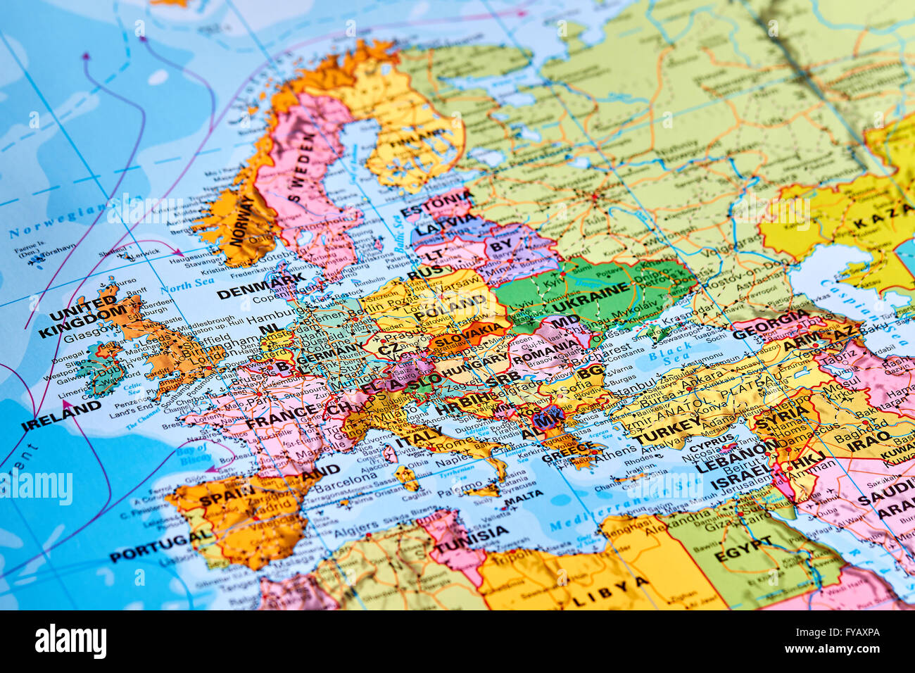 Europe Continent on the World Map - Stock Image