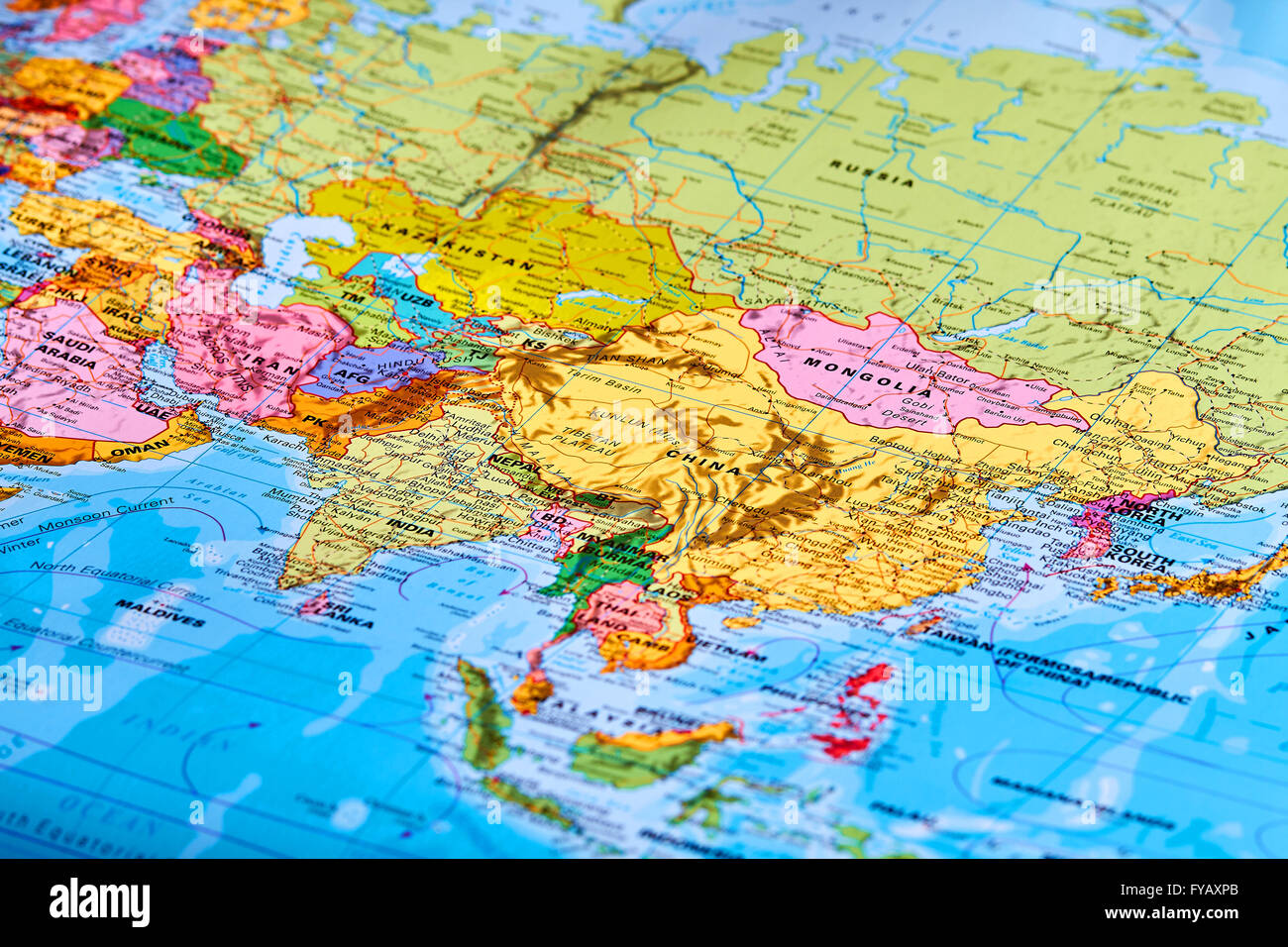 Asia Continent on the World Map - Stock Image