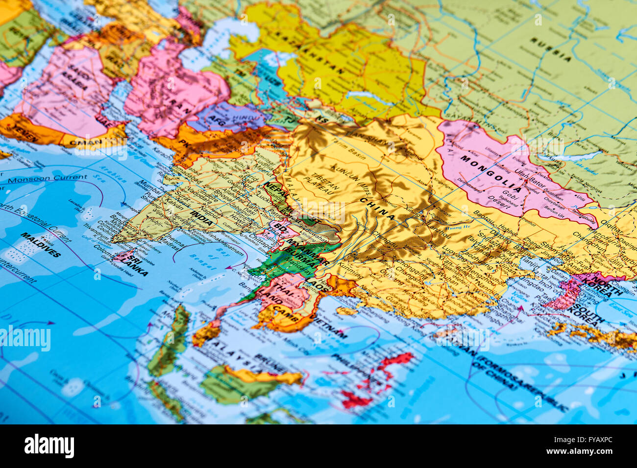 Asia Continent Map Stock Photos Asia Continent Map Stock Images