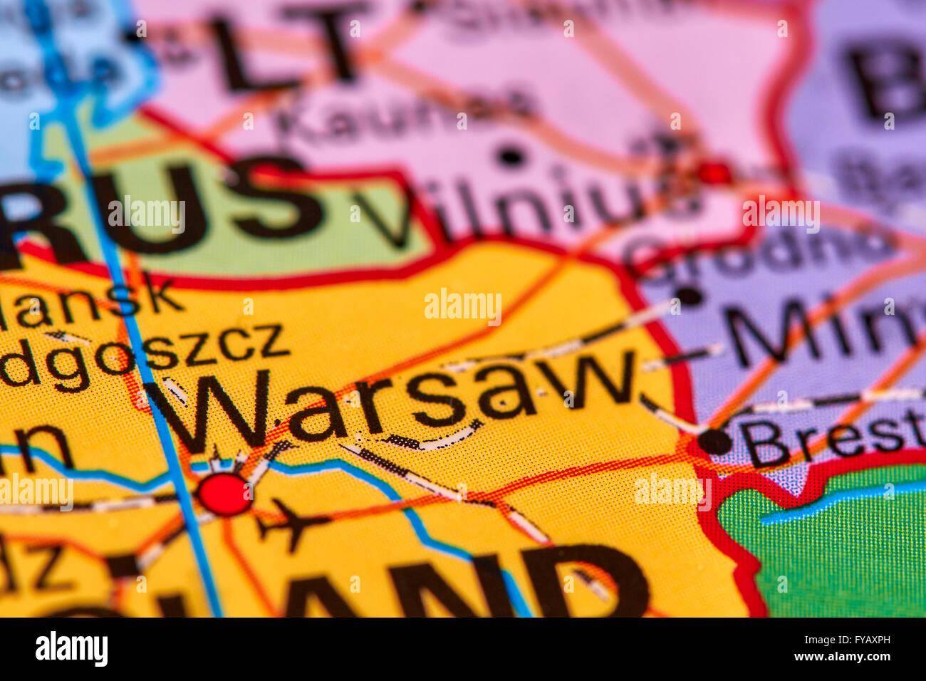 Capital Of Poland Map.Warsaw Capital City Of Poland On The World Map Stock Photo