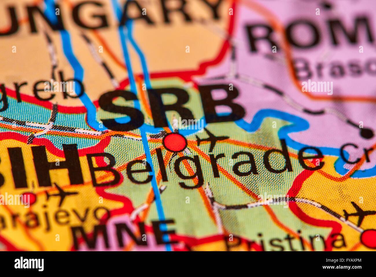 Belgrade, Capital City of Serbia on the World Map - Stock Image