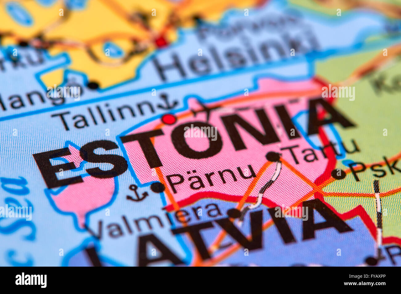 Estonia, Country in Europe on the World Map - Stock Image