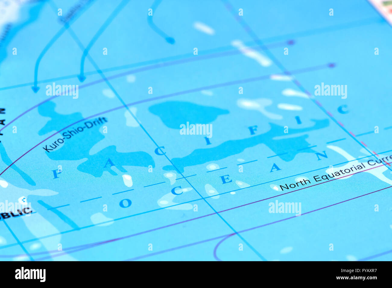 Pacific Ocean on The World Map Stock Photo