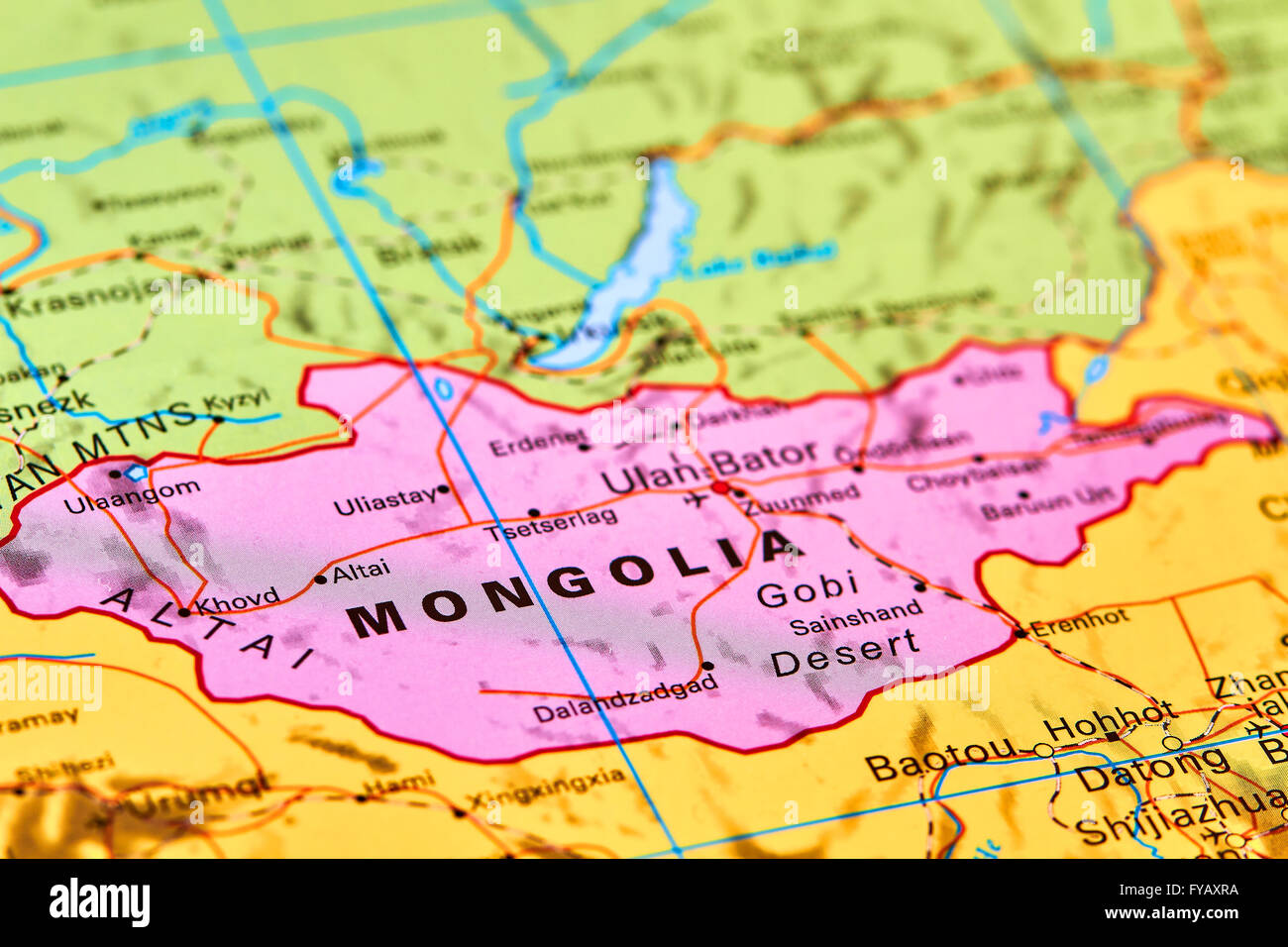 Mongolia, Country in Asia on the World Map - Stock Image