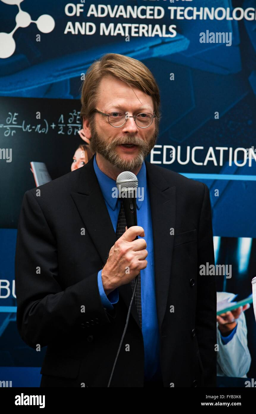 Douglas Vakocch, PhD. presents a new pop-science card game called Space race on Academia film festival in Olomouc - Stock Image