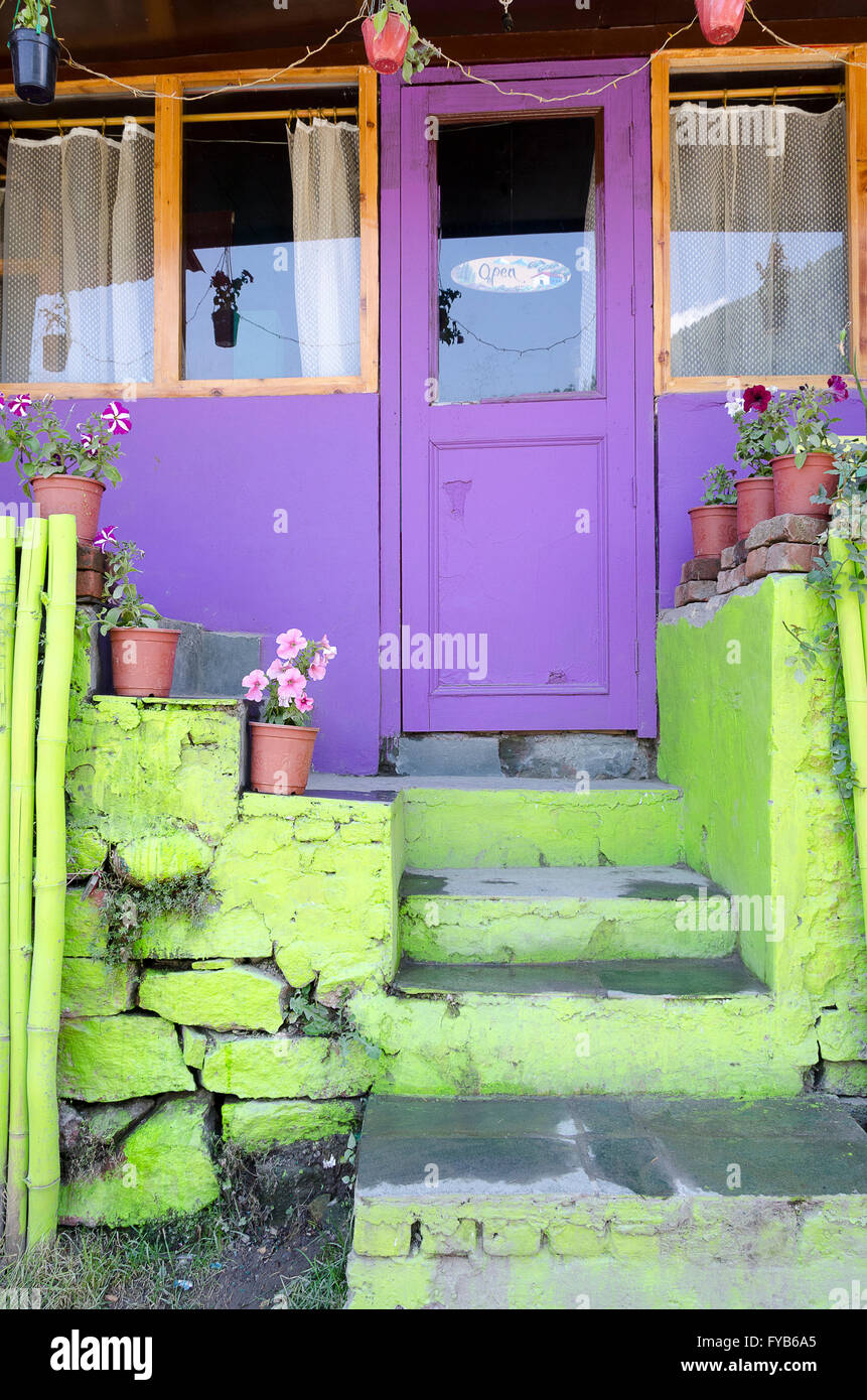 Purple Door And Green Steps In Front Of A House Manali