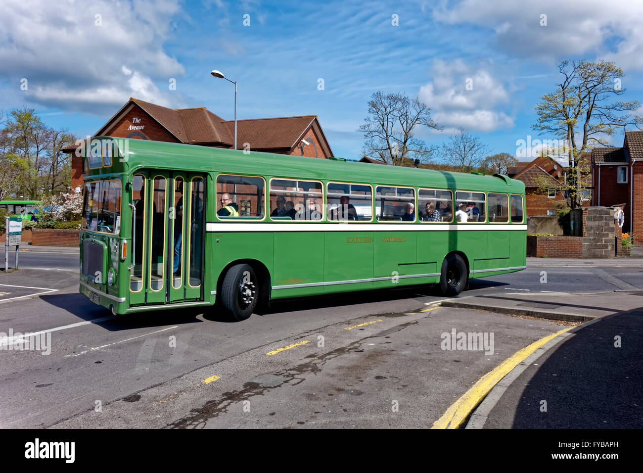Warminster, Wiltshire, UK, 24th April, 2016.Vintage buses came from as far as Bristol to take part in the first - Stock Image