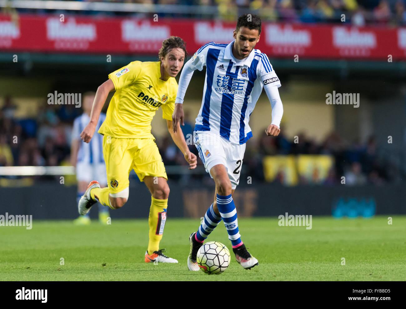 Villareal, Spain. 24th April, 2016. Diego Antonio Reyes Rosales of Real Sociedad during the La Liga match at Estadio - Stock Image