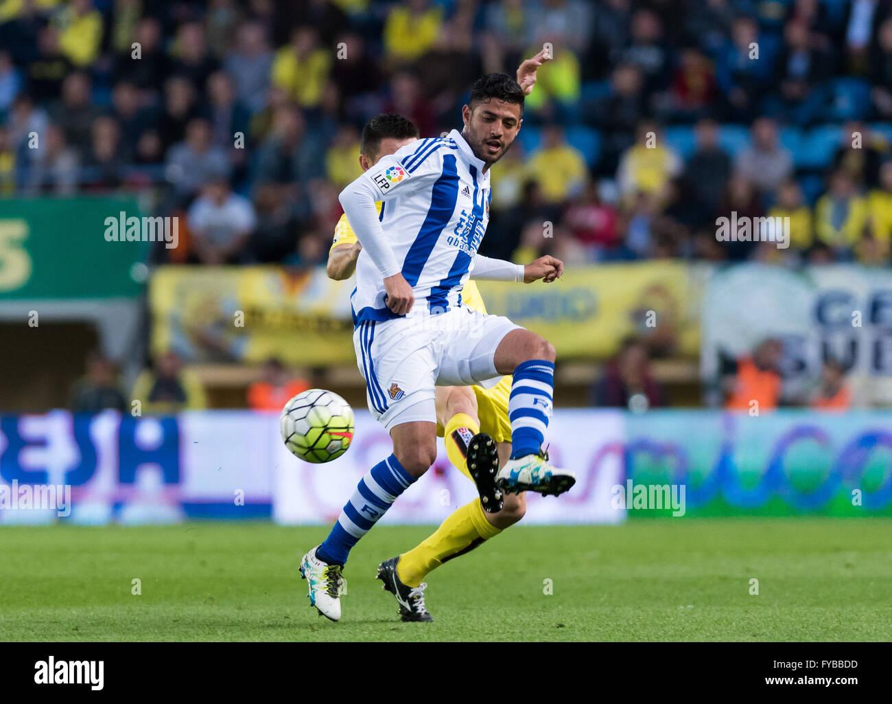 Villareal, Spain. 24th April, 2016. Carlos Vela of Real Sociedad during the La Liga match at Estadio El Madrigal, - Stock Image