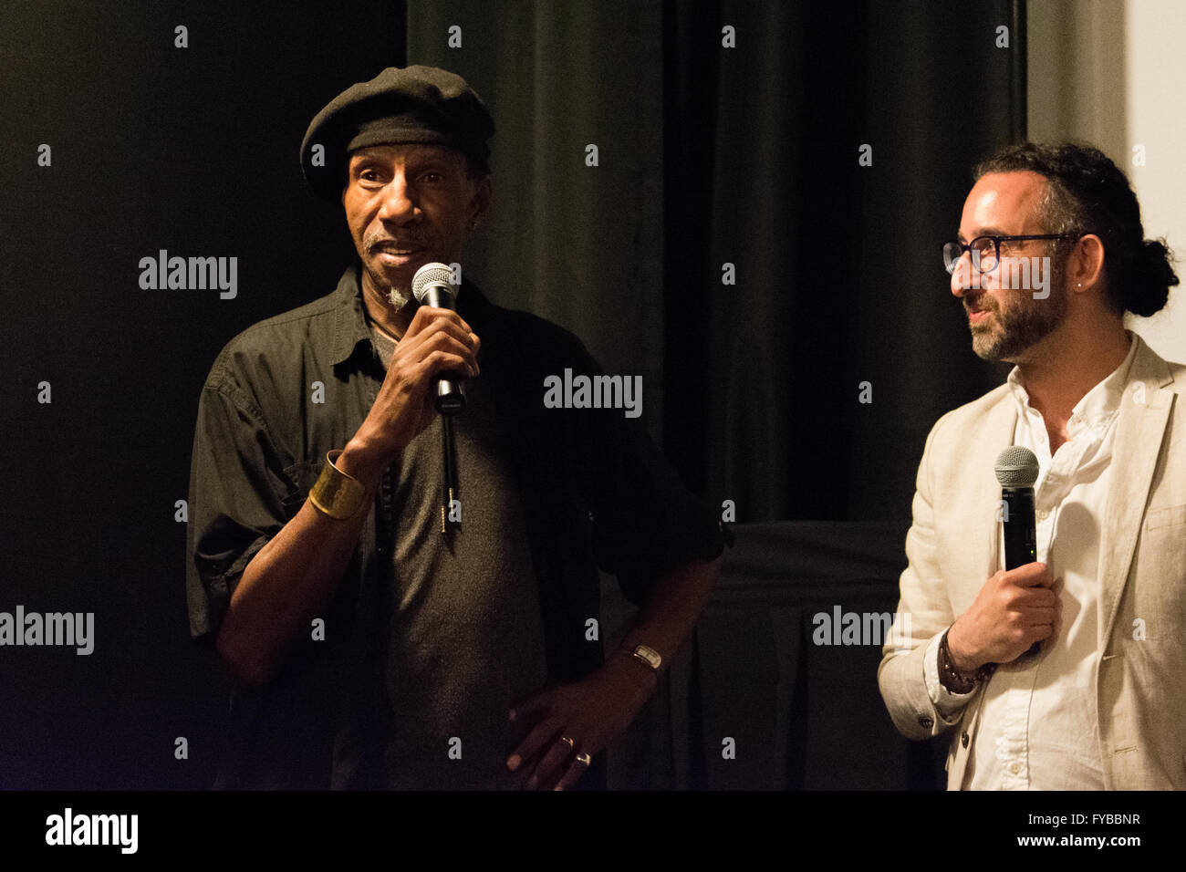 New York, USA. 23rd April 2016. Sam Waymon, brother and sideman of Ms. Simone, and Jeff L. Lieberman, the film's - Stock Image