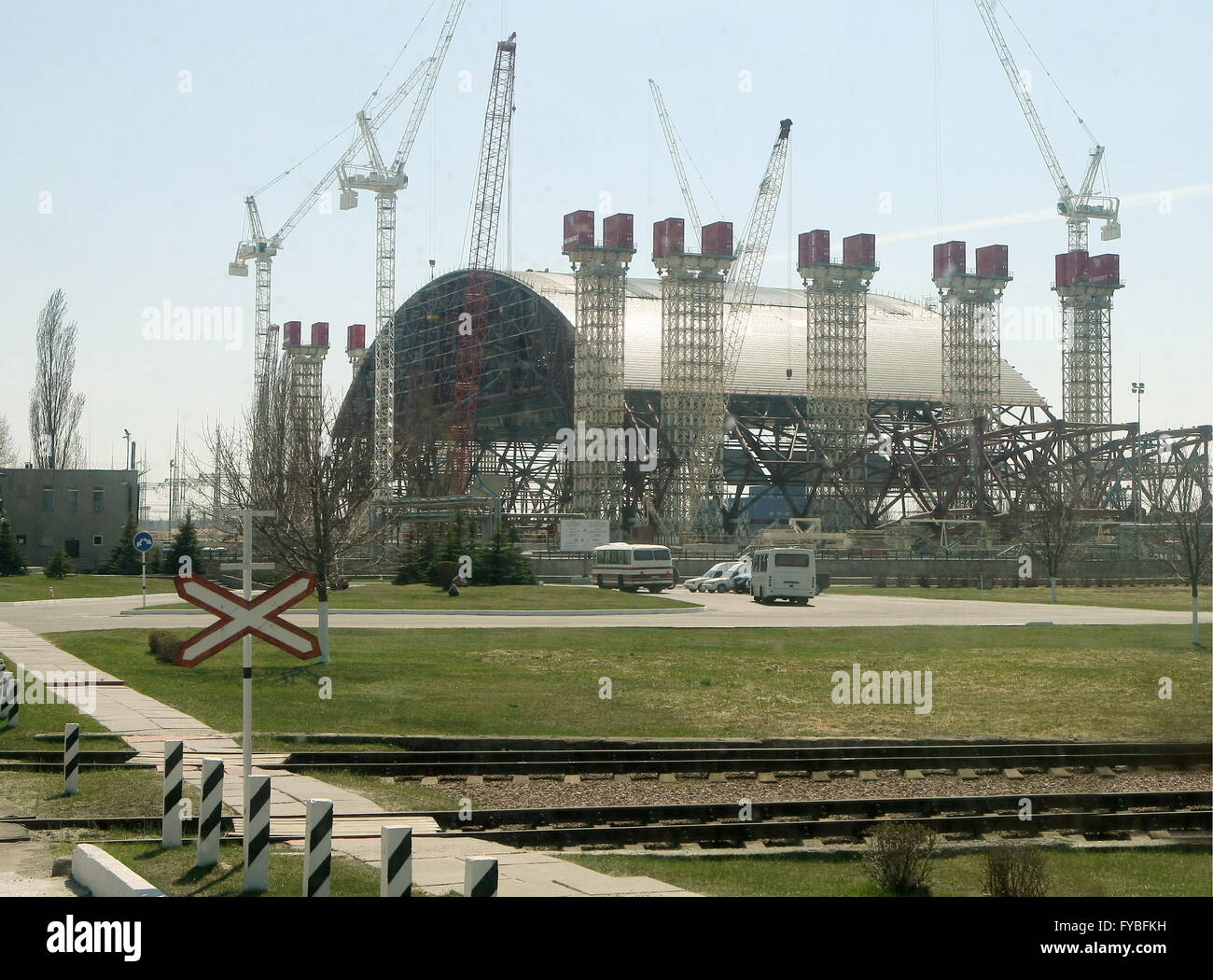CHERNOBYL, UKRAINE. Pictured in this file image is a construction site of a New Safe Confinement structure that - Stock Image