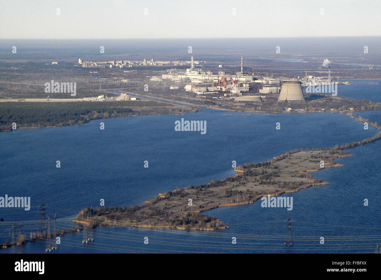 Chernobyl, Ukraine. 23rd Apr, 2016. A helicopter view of districts near the Chernobyl power station. On April 26, - Stock Image