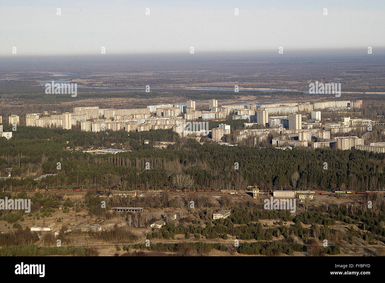 Pripyat, Ukraine. 23rd Apr, 2016. A helicopter view of the city of Pripyat near the Chernobyl power station. On - Stock Image