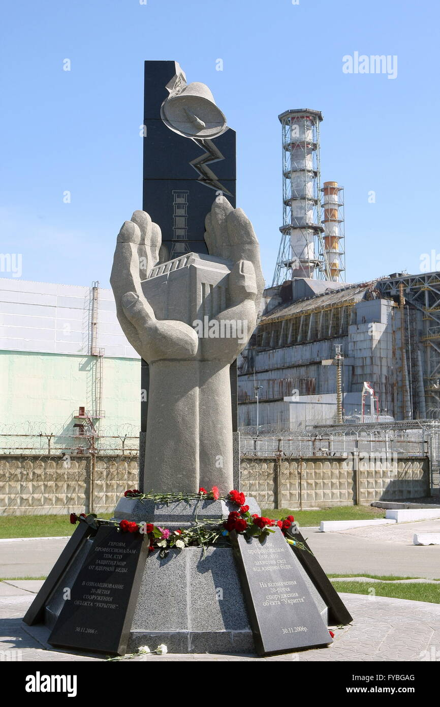 CHERNOBYL, UKRAINE. Pictured in this file image is a monument to the victims of the 26 April 1986 Chernobyl disaster - Stock Image