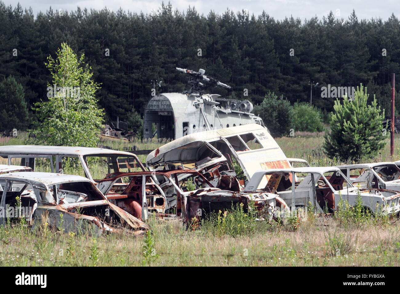 CHERNOBYL, UKRAINE. Pictured in this file image is equipment used in a clean-up operation following the Chernobyl - Stock Image