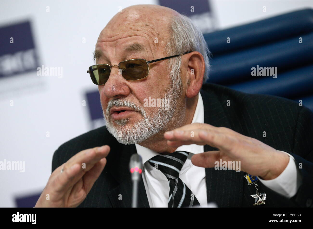 Moscow, Russia. 25th Apr, 2016. Lev Bocharov, the chief engineer of the Chernobyl sarcophagus, at a press conference - Stock Image