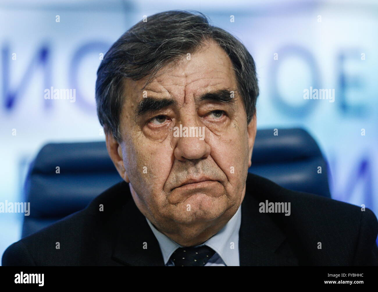 Moscow, Russia. 25th Apr, 2016. Valery Volkov of the Moscow Soyuz Chernobyl organization at a press conference on - Stock Image