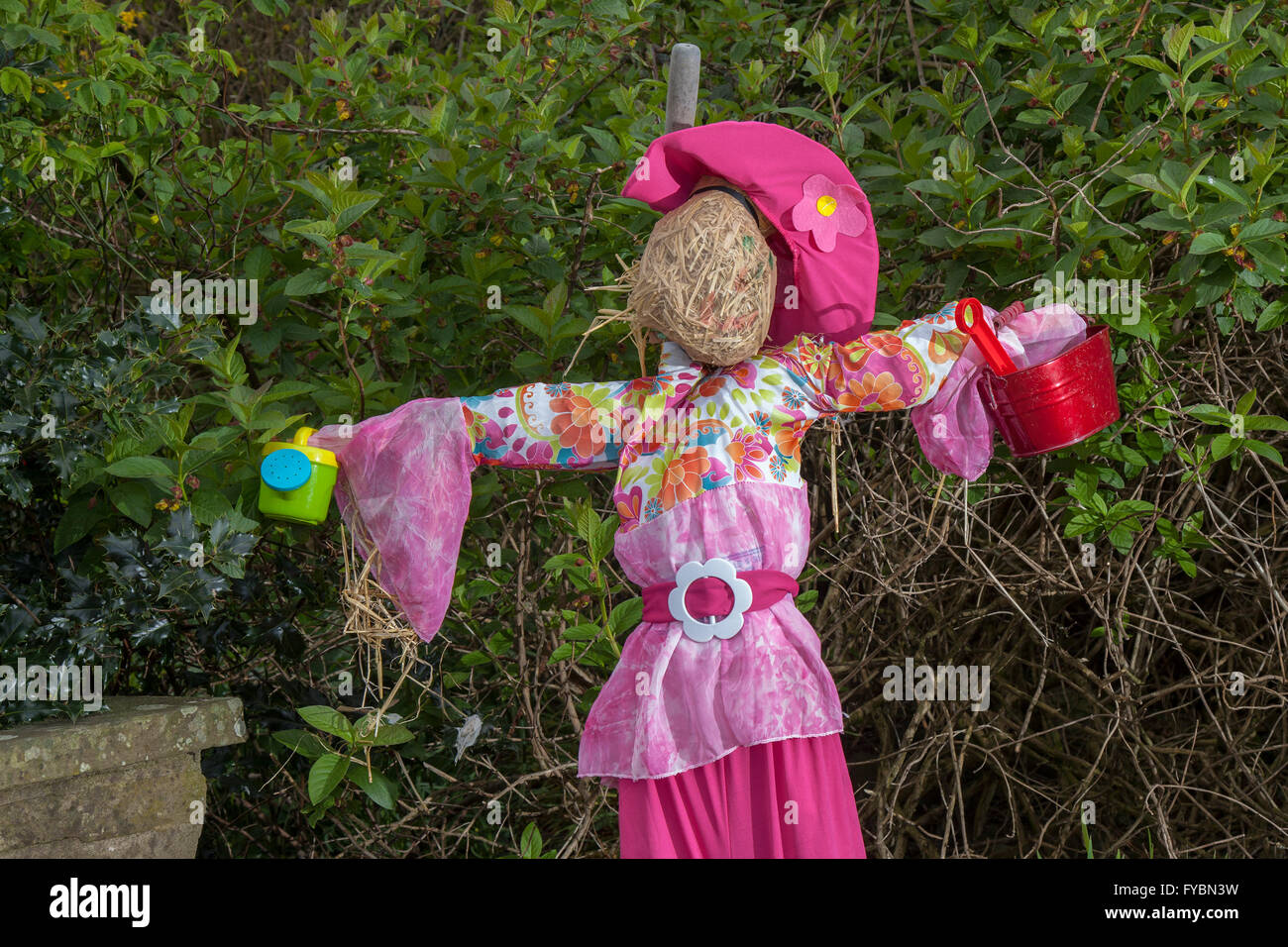 Wray, Lancashire, UK 25th April, 2016.  Vision in Pink at Wray's Annual Scarecrow Festival.  The villagers of - Stock Image