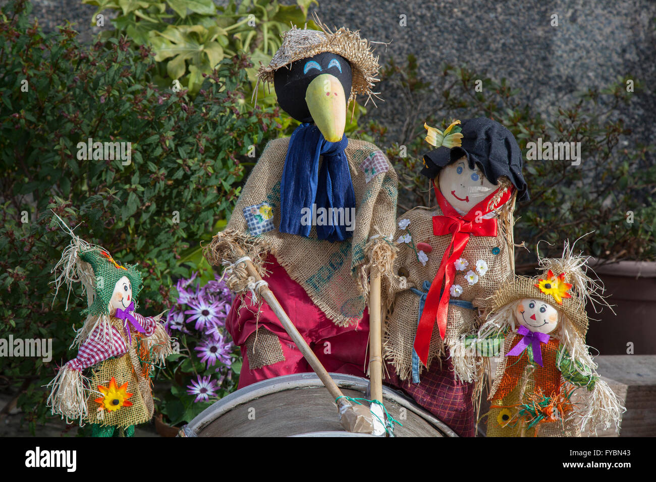 A family group of straw dolls, & figures at Wray's Annual Scarecrow Festival.  The villagers of Wray are - Stock Image