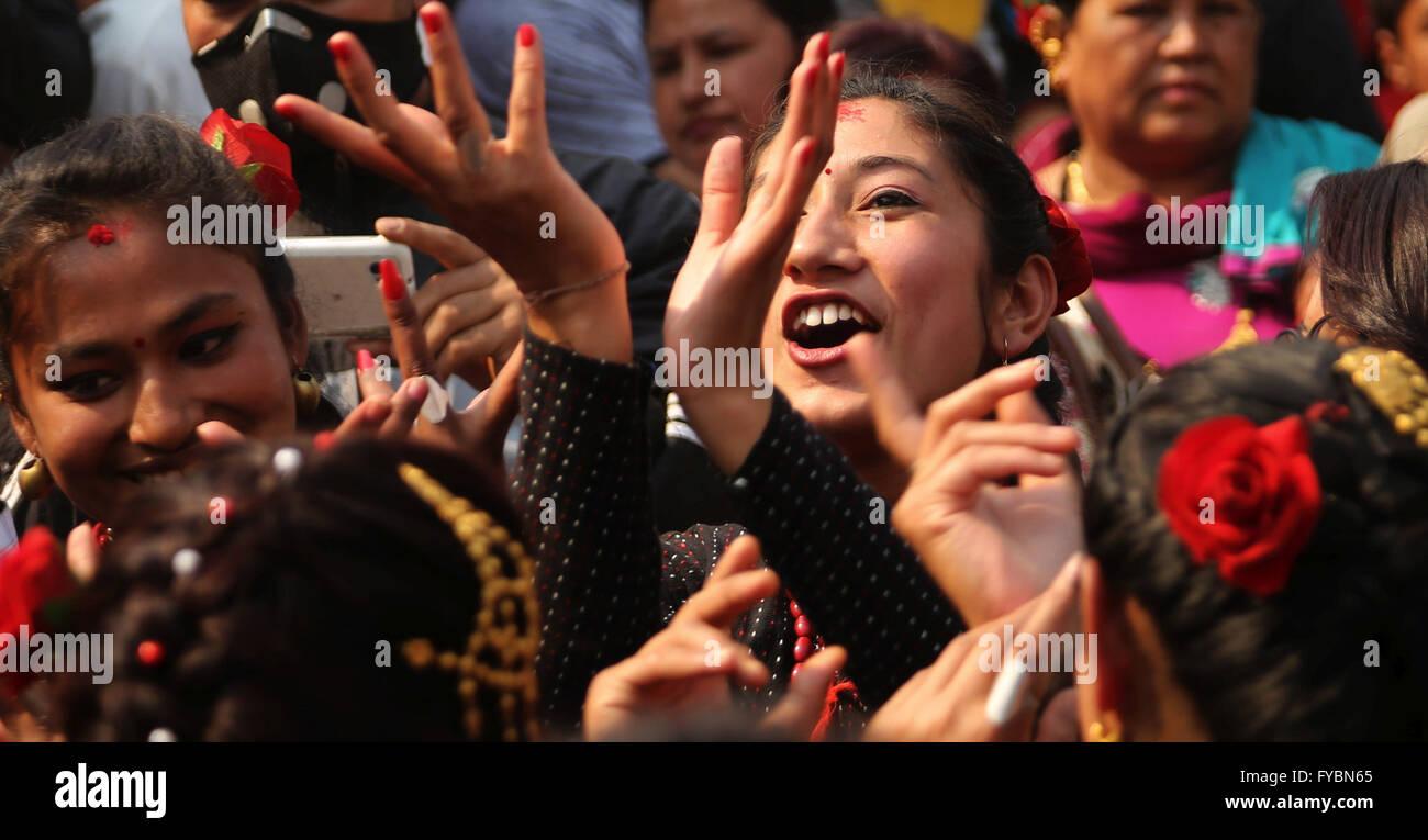 Kathmandu, Nepal. 25th Apr, 2016. Local girls smile during celebration of Bajra yogini festival at Sankhu village - Stock Image