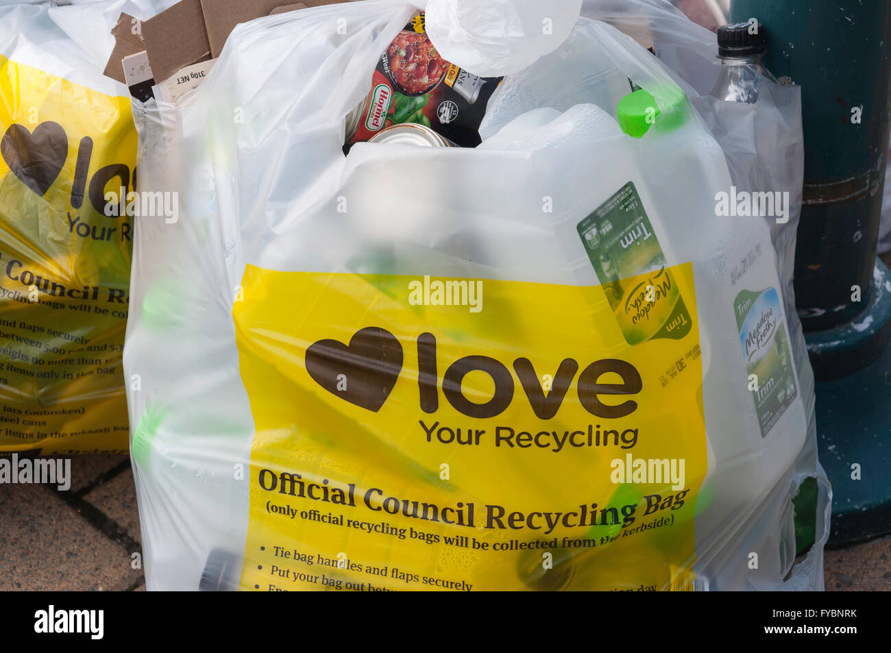 """Love your recycling"" Christchurch Council bag, Worcester Boulevard, Christchurch, Canterbury, New Zealand - Stock Image"