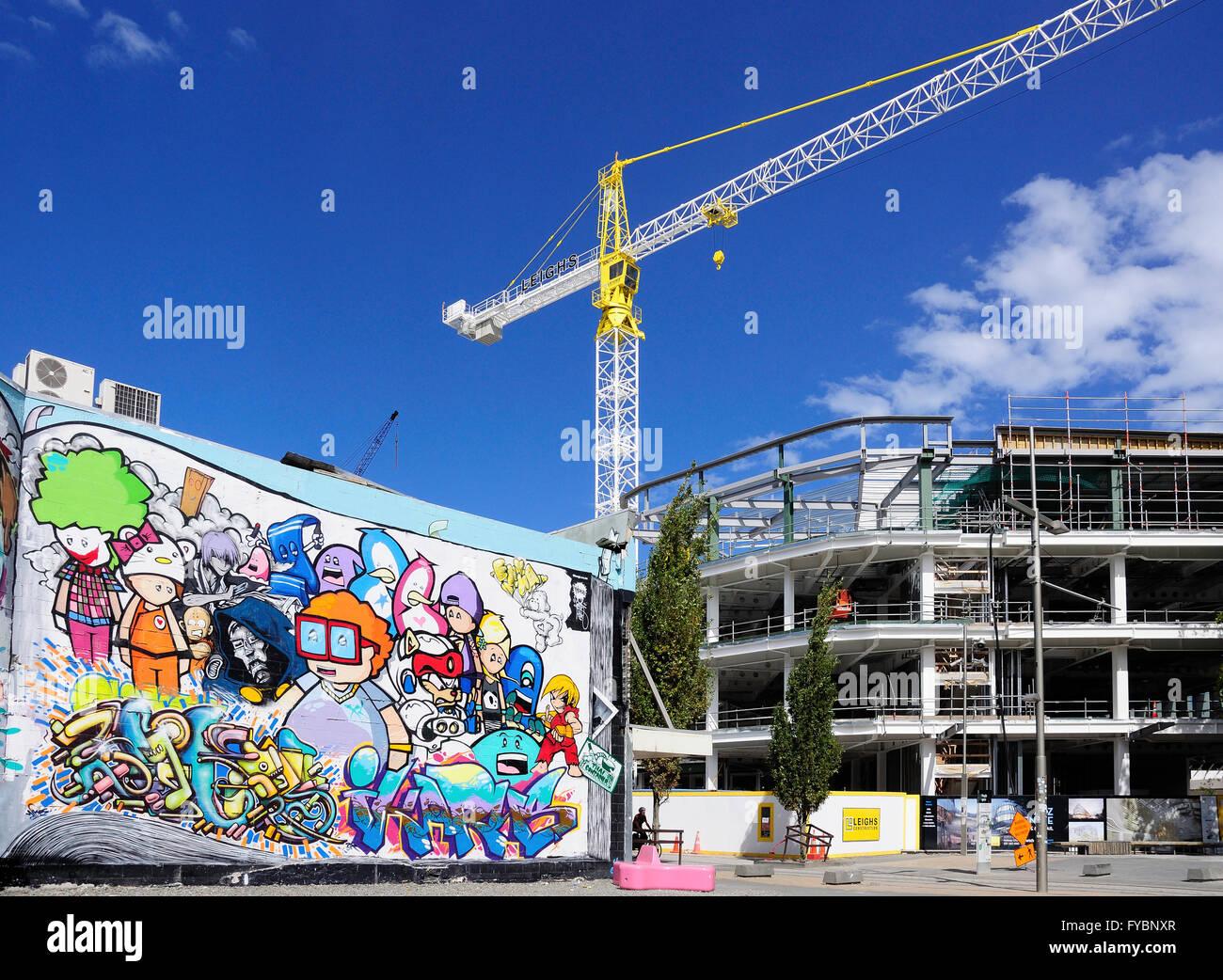 Wall mural and earthquake rebuild, Hereford Street, Christchurch, Canterbury, South Island, New Zealand - Stock Image