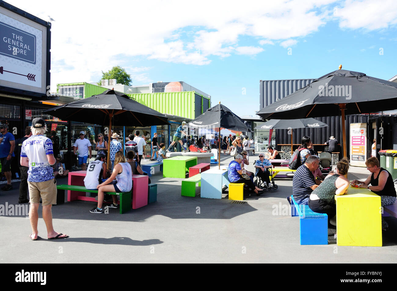 Food court at Re:START Container Mall, Cashel Street, Christchurch, Canterbury, New Zealand - Stock Image