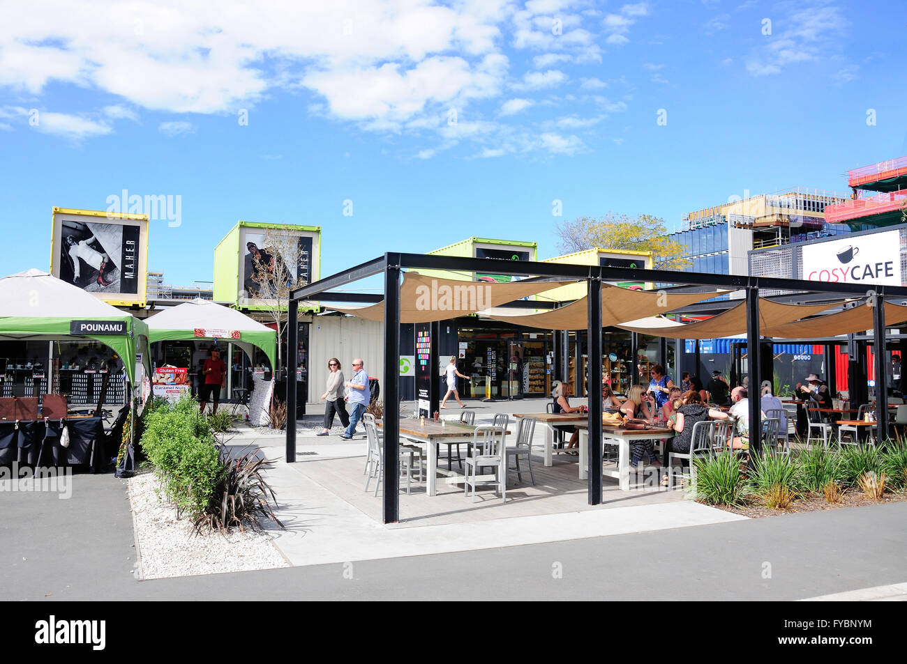 Cosy Cafe at Re:START Container Mall, Cashel Street, Christchurch, Canterbury, New Zealand - Stock Image
