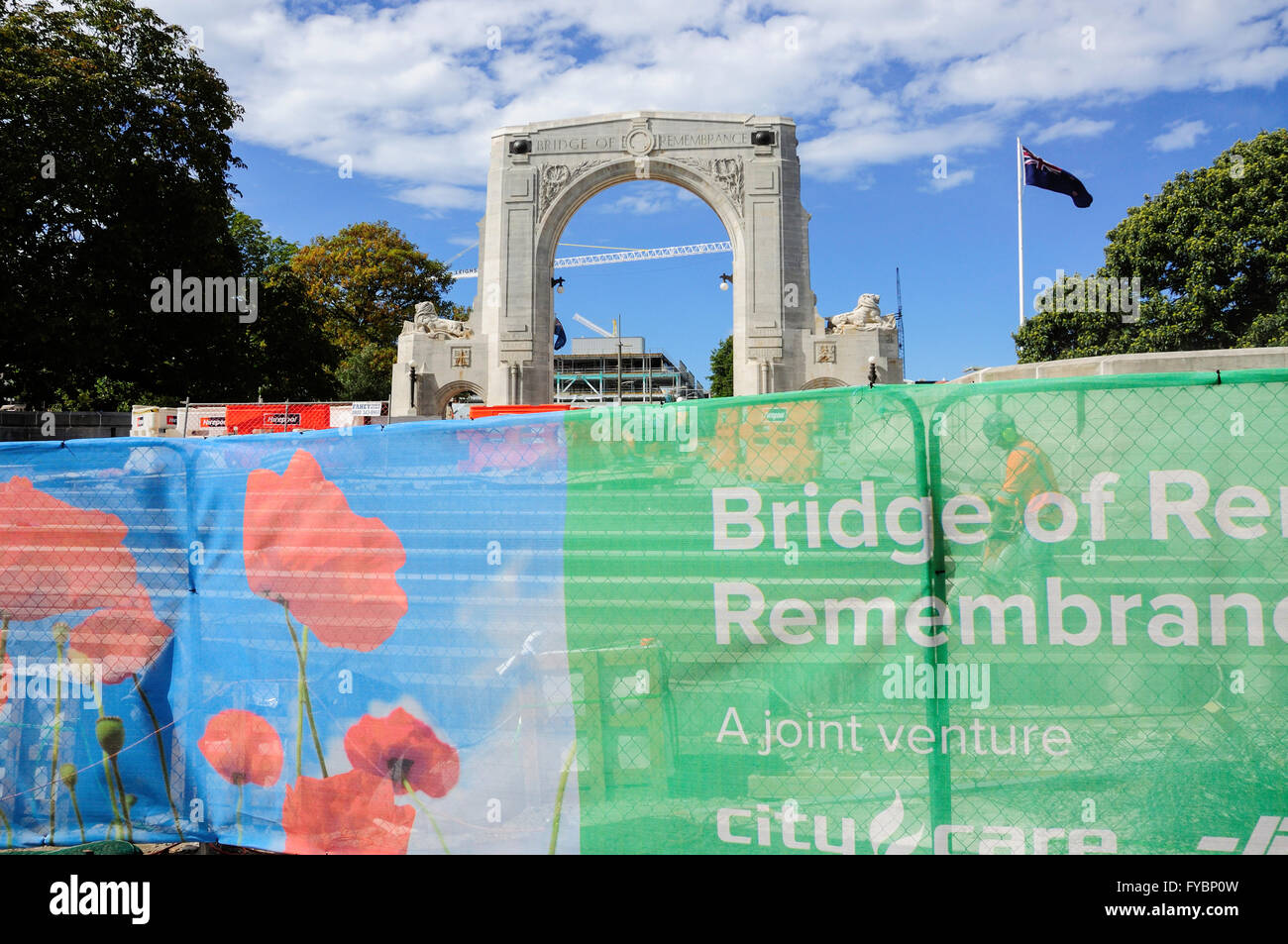 Reconstruction of Bridge of Rememberance after 2011 earthquake, Cashel Street, Christchurch, Canterbury, New Zealand - Stock Image