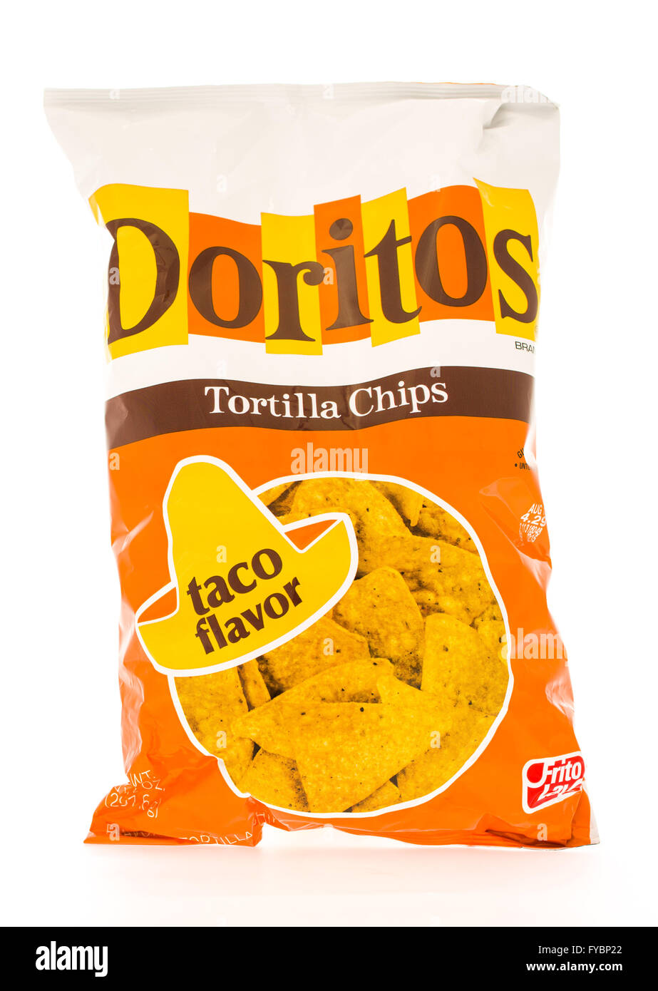 Winneconni, WI - 19 June 2015: Bag of Doritos in taco flavor which is owned by Frito-Lay Stock Photo