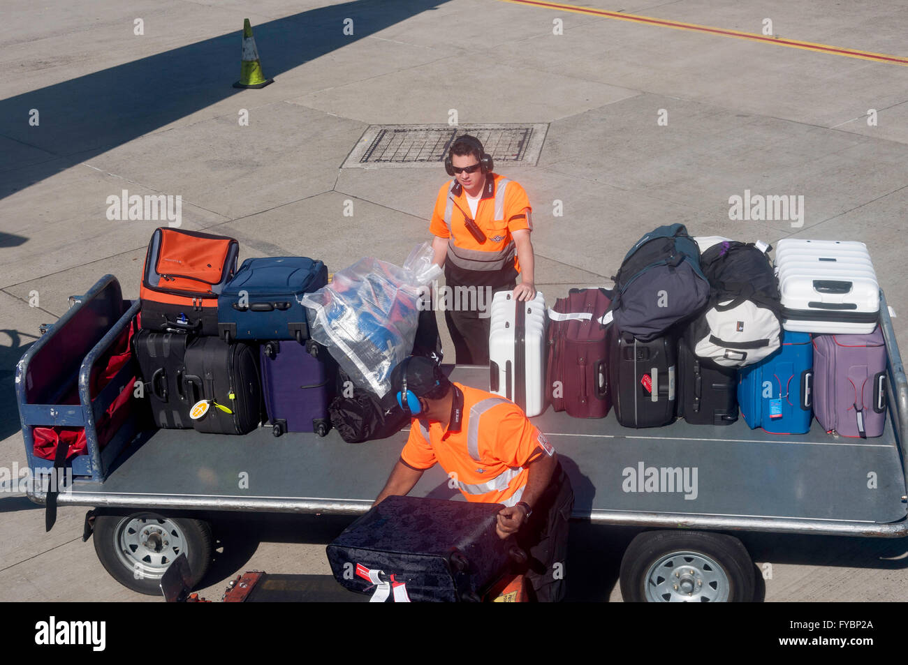 Baggage handlers unloading bags from aircraft at Sydney Kingsford Smith Airport, Mascot, Sydney, New South Wales, - Stock Image