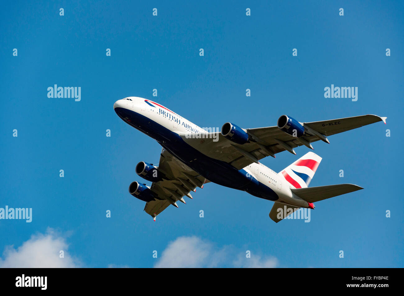 British Airways Airbus A380 taking off from Heathrow Airport, Greater London, England, United Kingdom - Stock Image