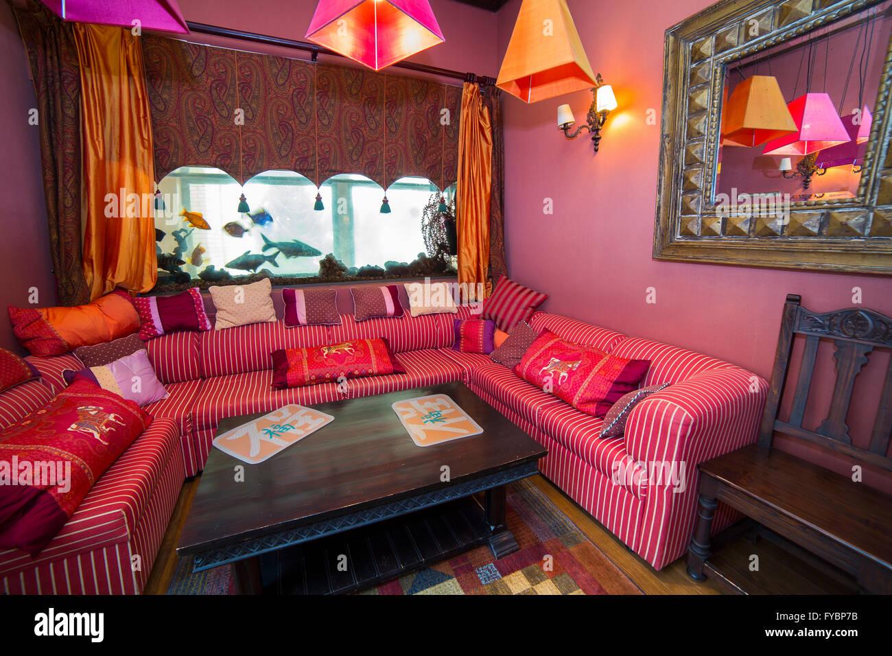 Restaurant In Oriental Design With Sofa Stock Photo Alamy