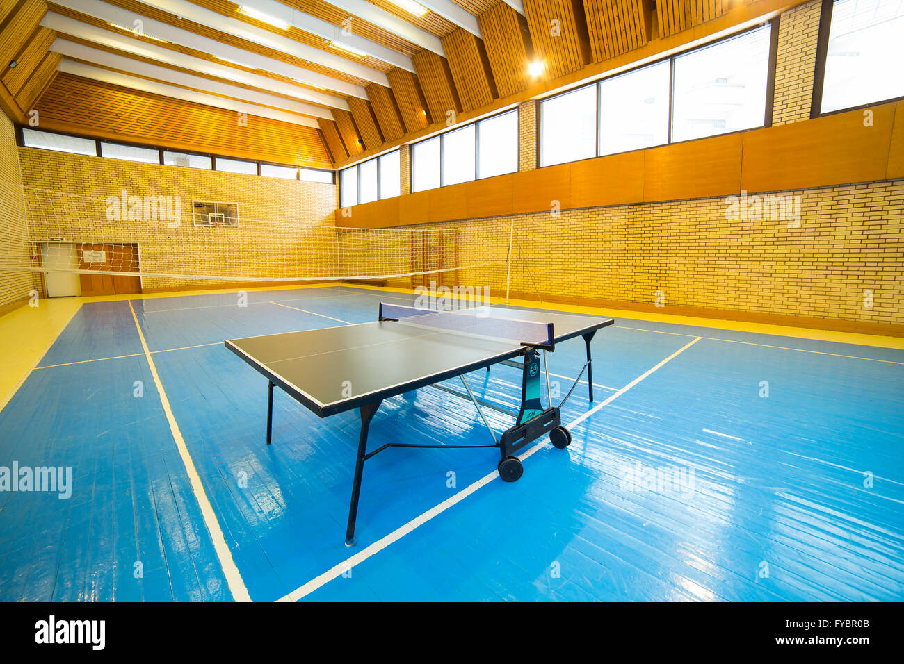 Gym Hall Empty Space With Table Tennis