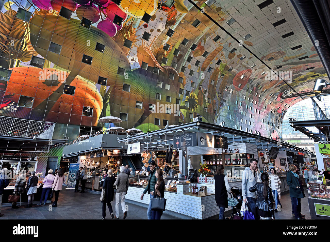 colorful interior of the rotterdamse markthal rotterdam market hall stock photo 102909418 alamy. Black Bedroom Furniture Sets. Home Design Ideas