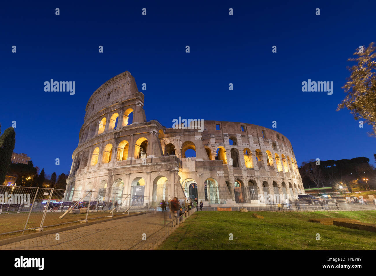 Colosseum at night, Rome, Italy - Stock Image
