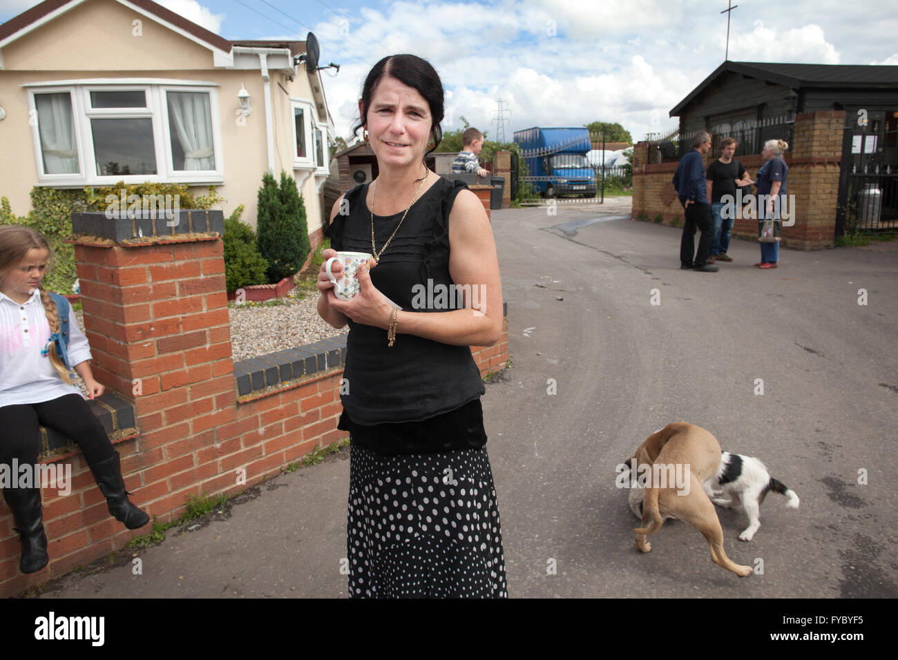Candy Sheridan of the Gypsy Council, Dale Farm, on the outskirts of Essex, the largest Irish Traveller and Gypsy - Stock Image
