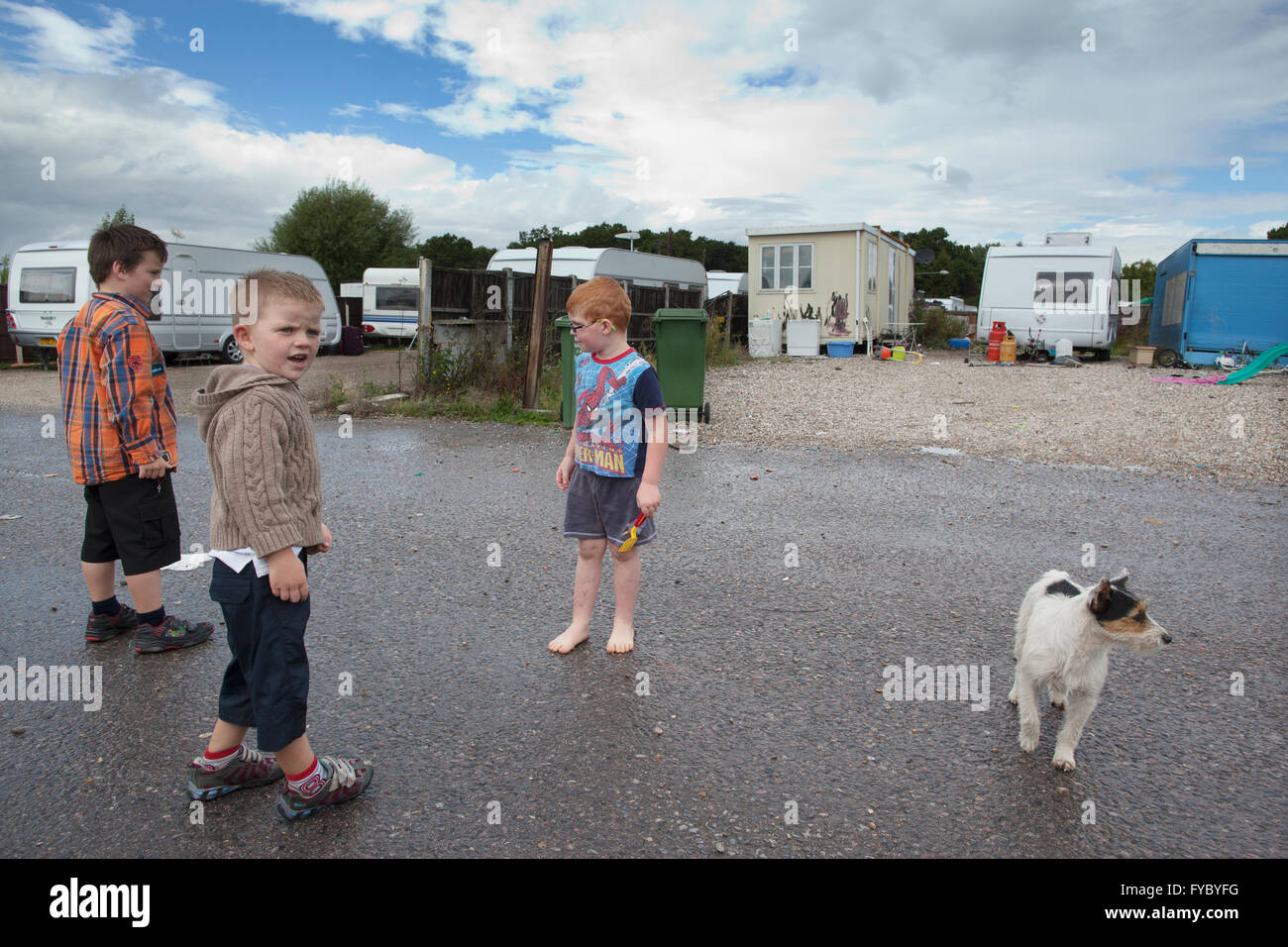 Dale Farm, on the outskirts of  Basildon, Essex, the largest Irish Traveller and Gypsy site in Europe - Stock Image